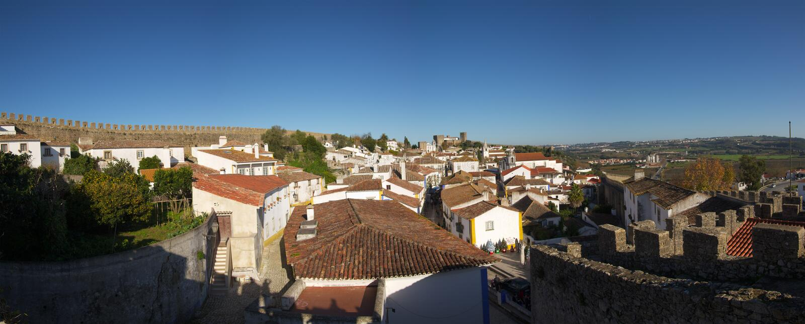 Panorama of the walled town of Óbidos stock photography