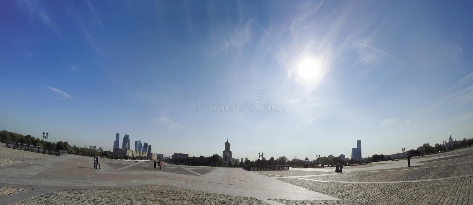 Panorama of War memorial in Victory Park on Poklonnaya Hill, Moscow, Russia royalty free stock photo