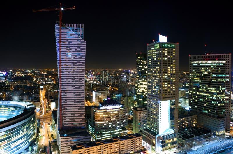 Panorama of Warsaw city center. At night stock photo