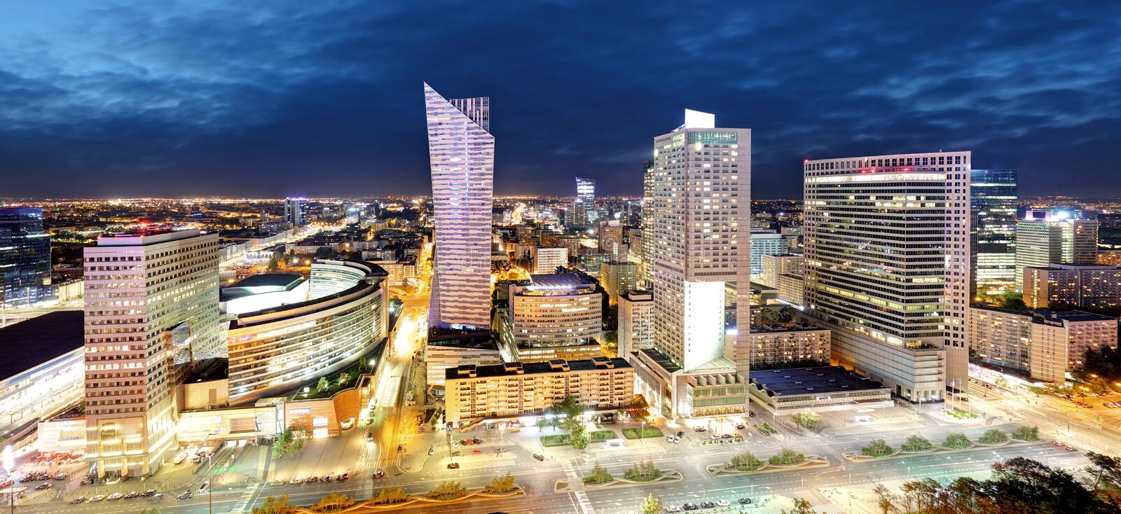 Panorama of Warsaw city center during the night, Poland royalty free stock photography