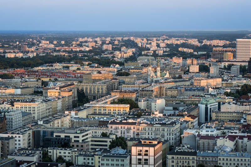 Panorama of Warsaw city, Poland royalty free stock photos