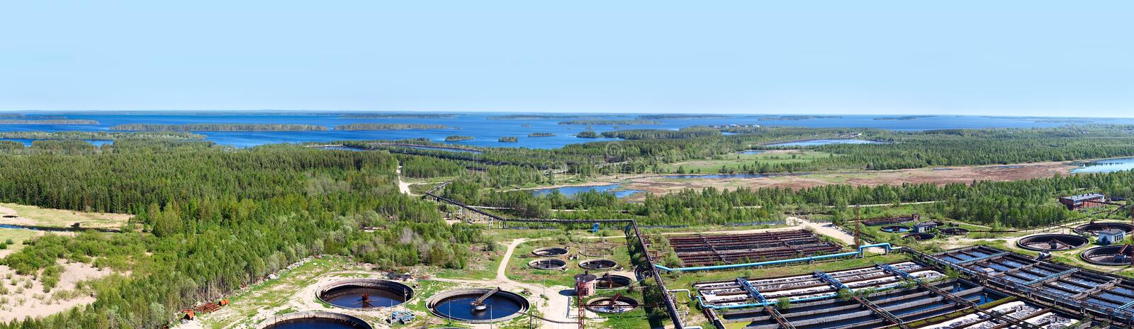 Panorama of water recycling sewage station royalty free stock photography