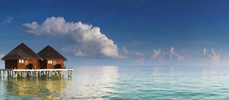 Panorama with water villas stock photos