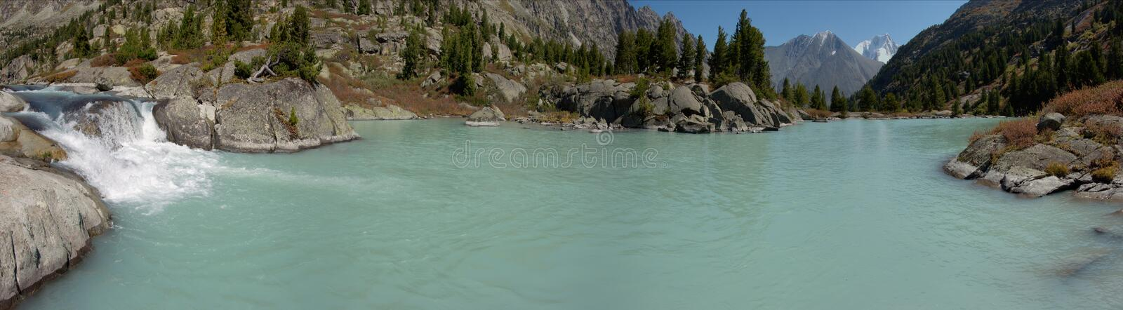 Panorama with a waterfalls royalty free stock image
