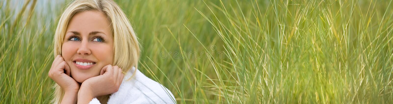 Panorama Web Banner Girl Young Woman Natural Grass royalty free stock images
