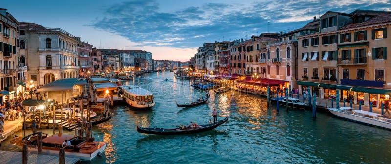 Panorama Wenecja przy nocą, Włochy zdjęcie stock