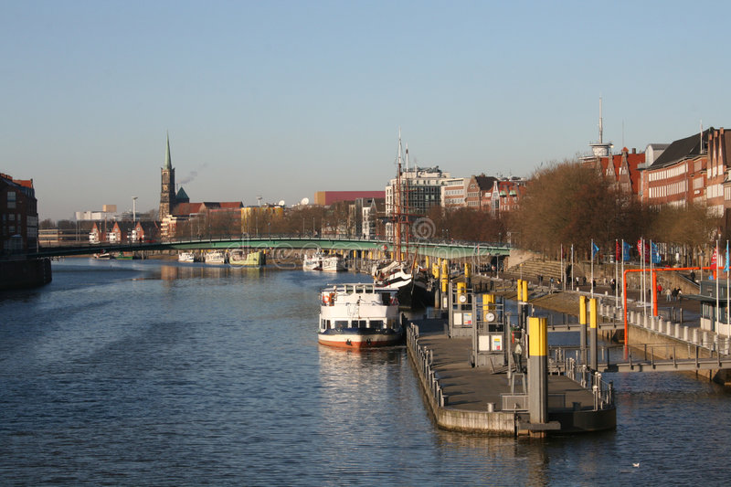 Panorama of Weser river royalty free stock photo