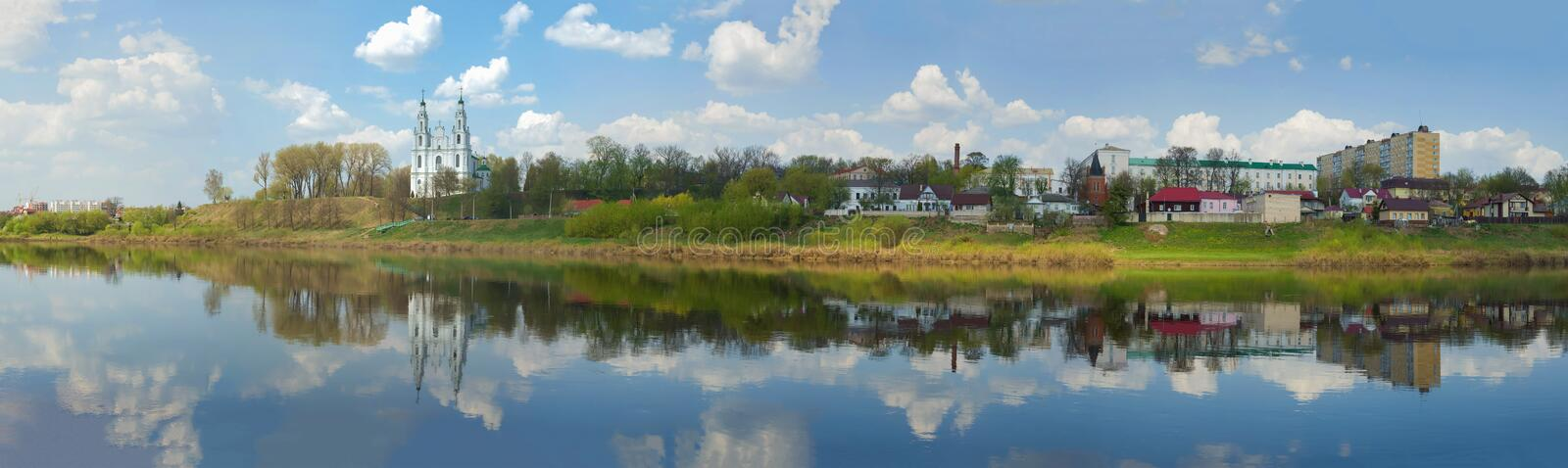 Panorama of the Western Dvina River. Polotsk, Belarus. Panorama of the Western Dvina River on a cloudy April day. Polotsk, Belarus stock photo