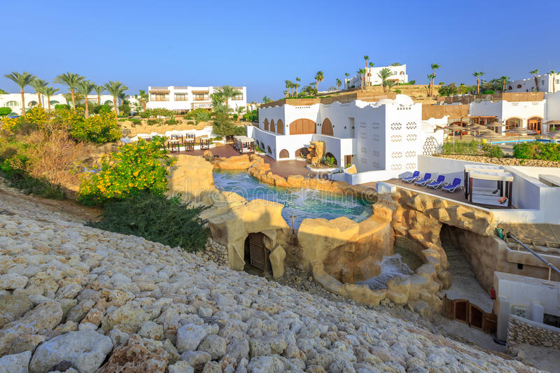 Panorama of white city at tropical luxury resort hotel, Egypt stock photos