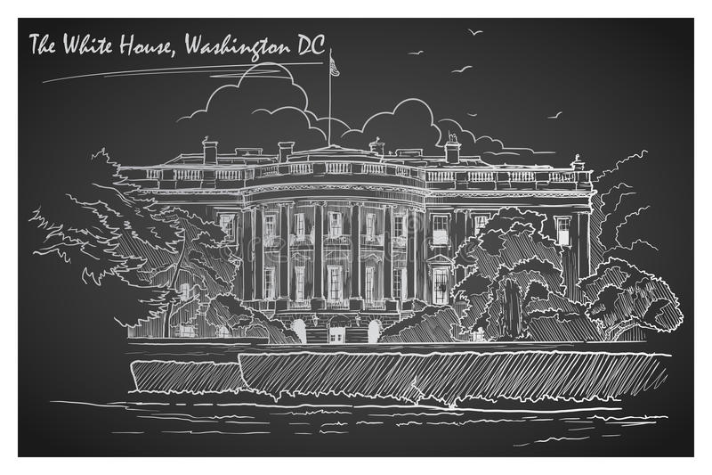 Panorama of the White House. Blackboard. EPS10 vector illustration. vector illustration