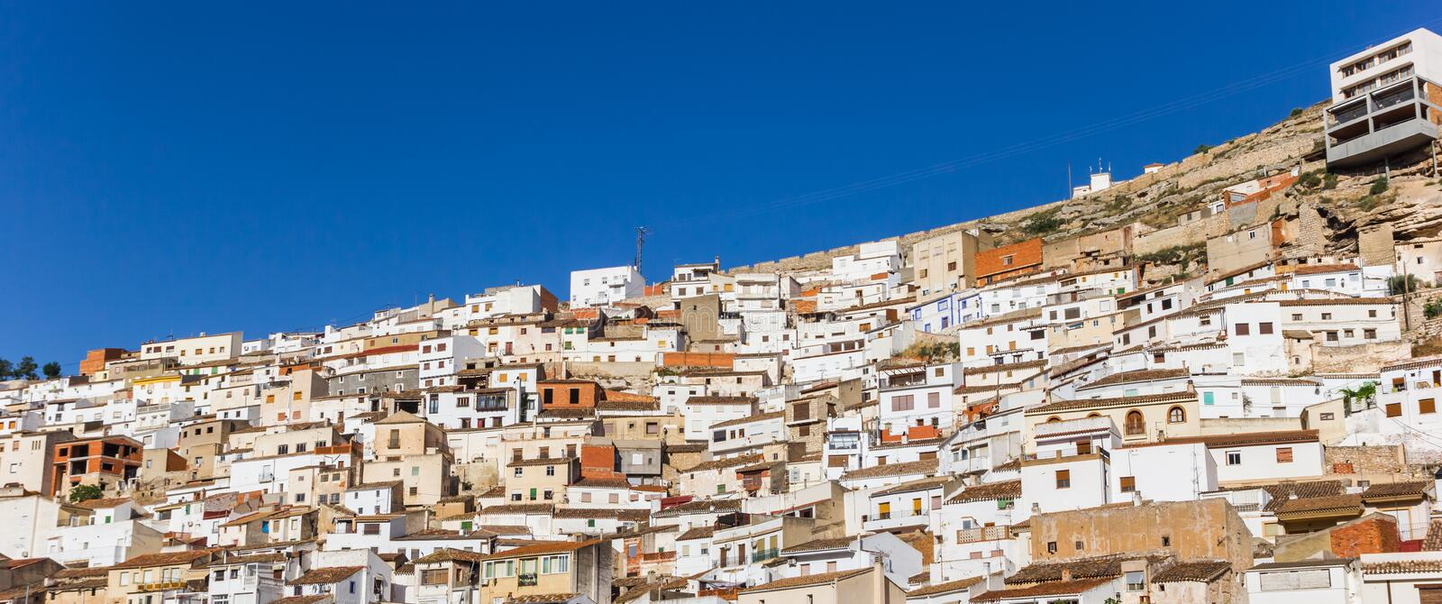 Panorama of white houses of Alcala del Jucar. Spain stock image