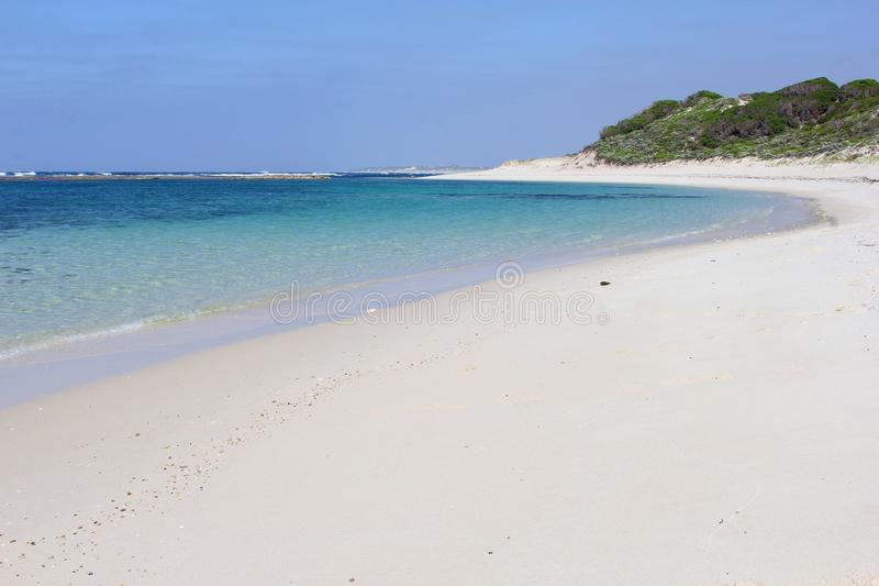 Panorama of the white sandy beach at Munglinup, Esperance, Western Australia royalty free stock images