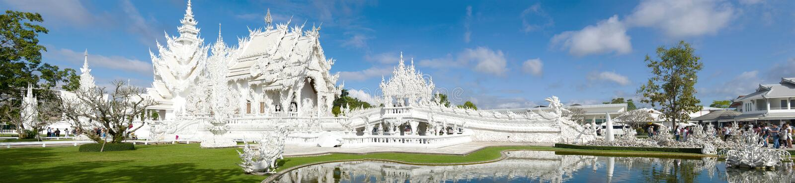Panorama of the White Temple Wat Rong Khun, Chiang Rai. Thailand stock photography