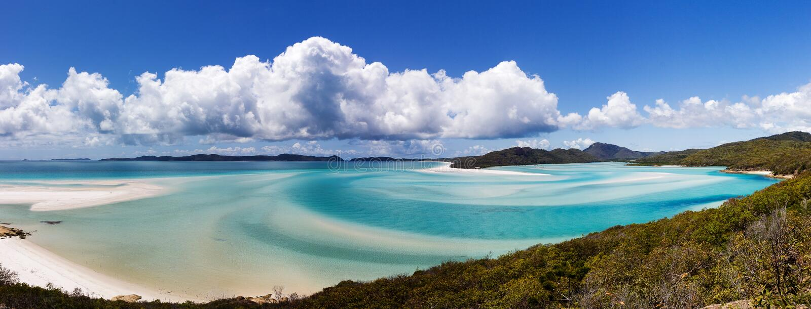 Panorama Whiteheaven plaża, Whitsunday wyspa, Queensland, Australia obrazy royalty free