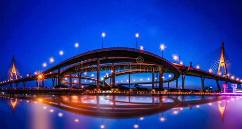 Panorama widok ` Bhumiphol ` autostrady most przez ` Chaopraya ` rzekę w Bangkok Tajlandia z pejzażu miejskiego tłem Zwany jako k obraz royalty free