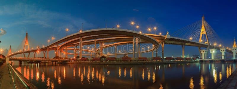Panorama widok bhumiphol mosta znacząco transpo i punkt zwrotny fotografia royalty free