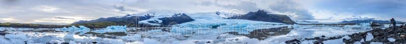 Panorama widok Icland ` s sekretu laguna fotografia stock