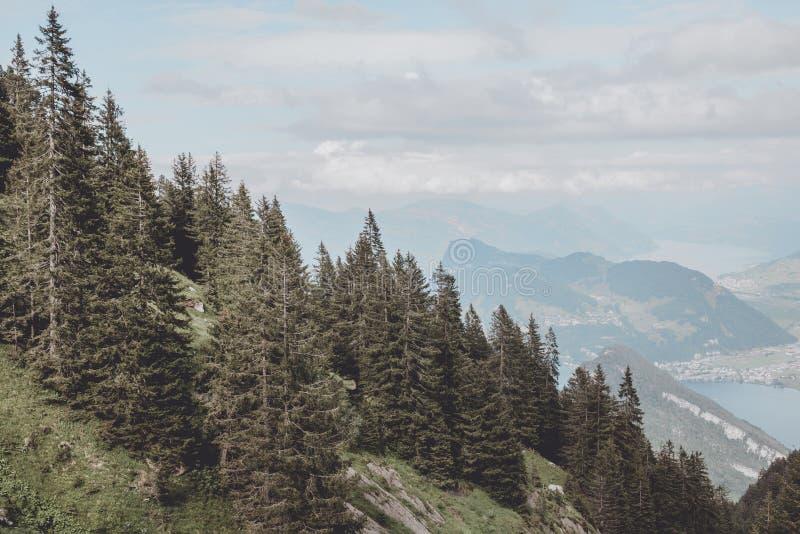 Panorama widok Lucerna jezioro i g?ry scena w Pilatus lucerna fotografia royalty free