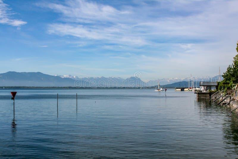 Panorama widok nad jeziornym constance Germany zdjęcia royalty free