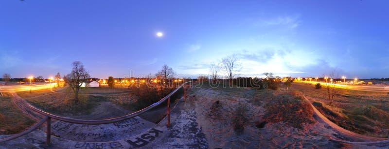 Panorama 360 - widok od dachu bunkier na Ugór ulicie w Toruńskim poland 2012 fotografia stock
