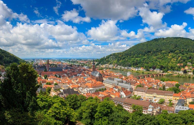 Panorama widok od Heidelberg kasztelu stary miasteczko Heidelberg, Baden-Wuerttemberg, Niemcy fotografia stock