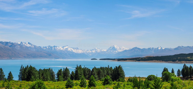 Panorama widok pięknej sceny Mt Cooka latem obok jeziora z zielonym drzewem i niebieskim niebem Nowa Zelandia I zdjęcia royalty free
