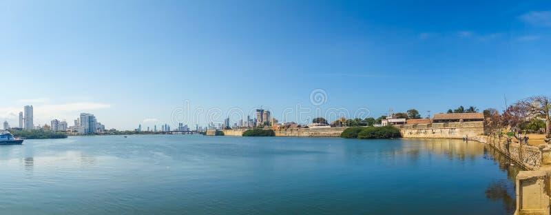 Panorama widok port w Cartagena, Kolumbia zdjęcie royalty free