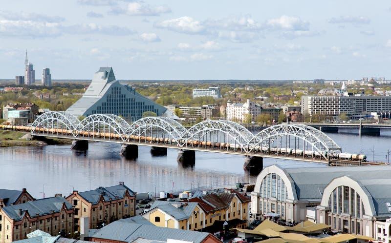 Panorama widok Ryski miasto, kapitał Latvia fotografia stock