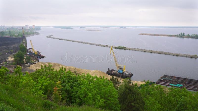 Panorama widok Zaporoska rzeka, Ukraina obraz stock