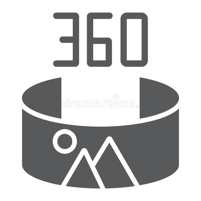 Panorama widoku glifu ikona i obracanie, panoramiczny, 360 stopni znak, wektorowe grafika, bryła wzór na bielu ilustracji