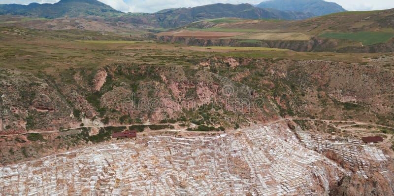 Panorama widoku soli baseny w Peru zdjęcia royalty free