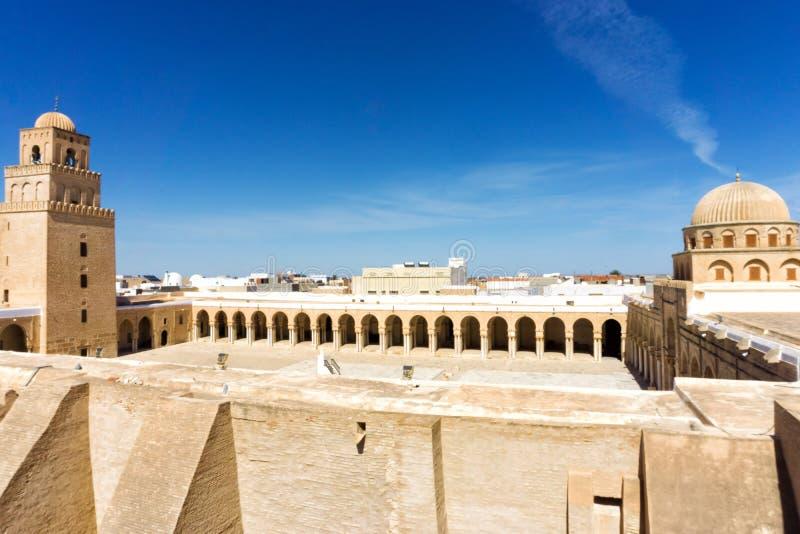 Panorama Wielki meczet w Kairouan, Tunezja fotografia royalty free