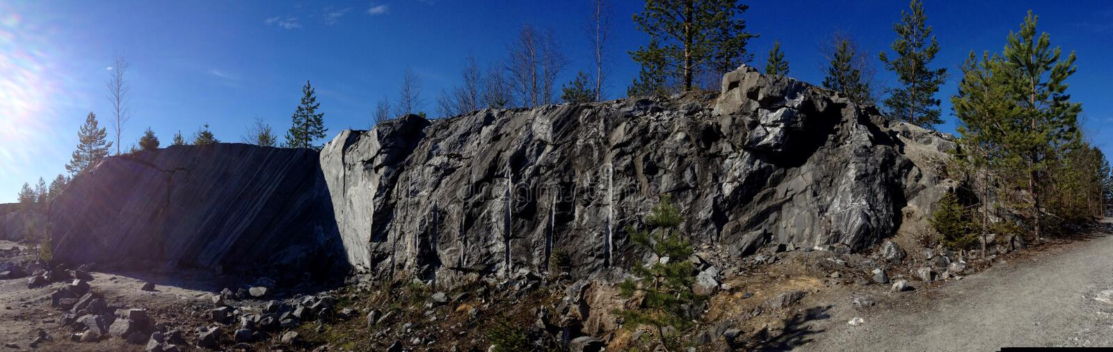 Panorama of the wild rocky places. stock images