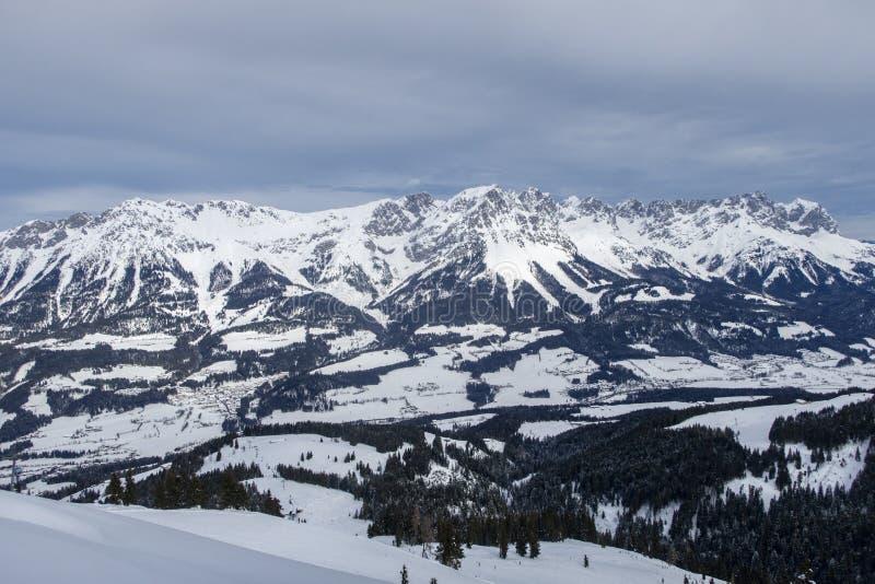 Panorama of wilder kaiser. In austria stock images