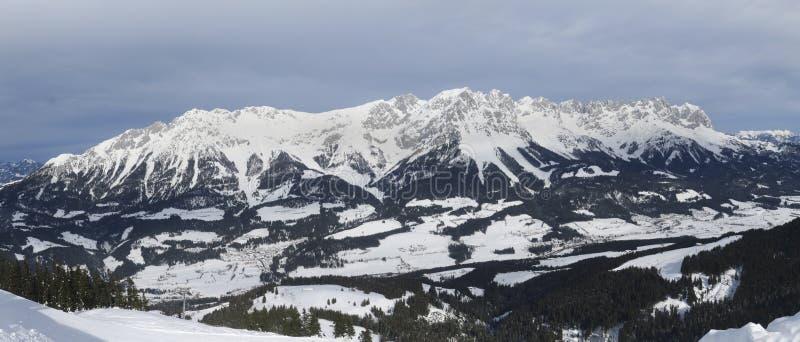 Panorama of the wilder kaiser. In austria stock photos
