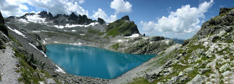 Panorama Wildsee lake in Switzerland stock photography