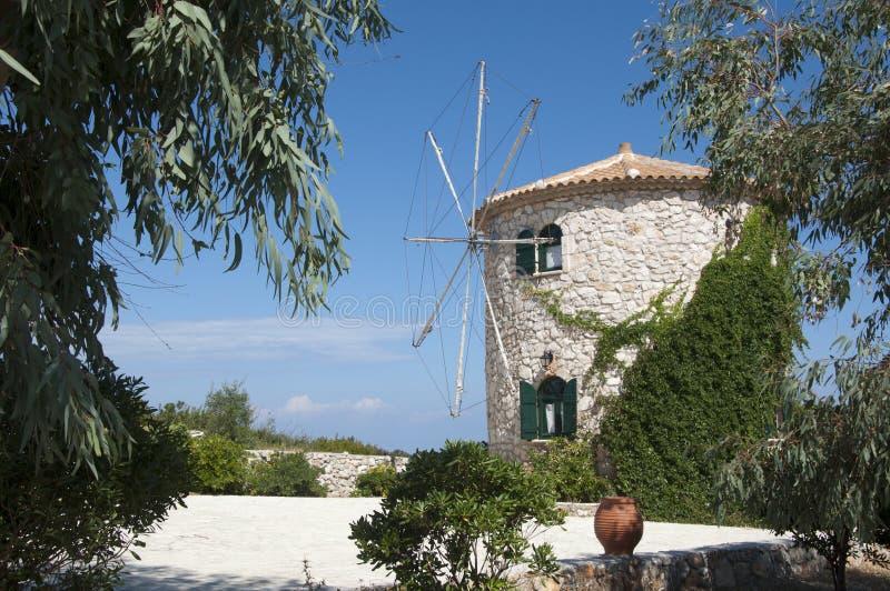Panorama of windmill royalty free stock photo