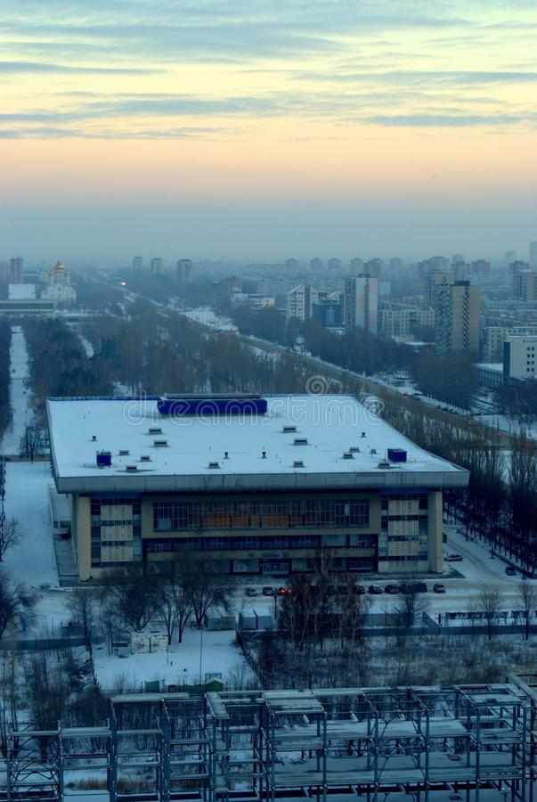 Panorama of the winter city with a view of the Volgar Sports Palace. In the city of Togliatti royalty free stock photos