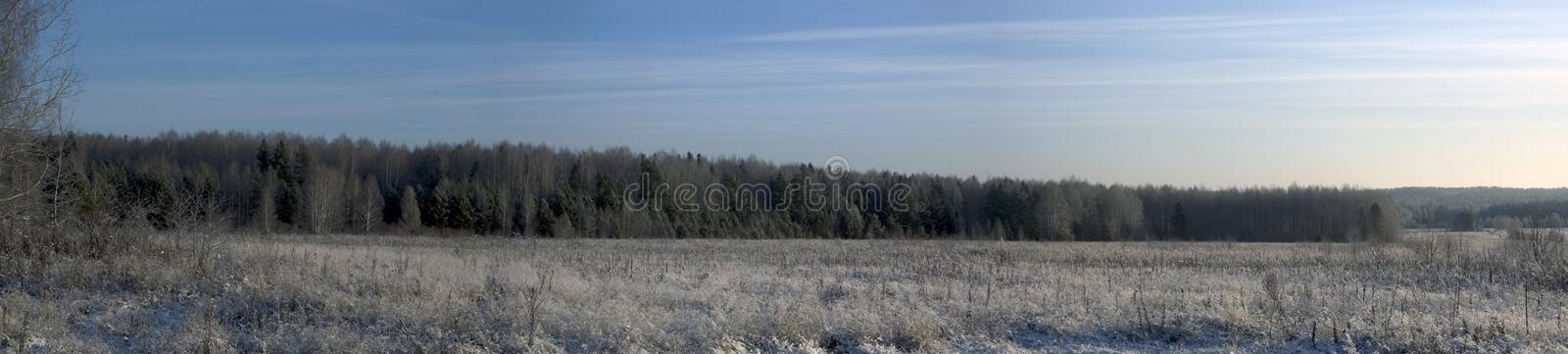 Panorama of a winter landscape royalty free stock photography