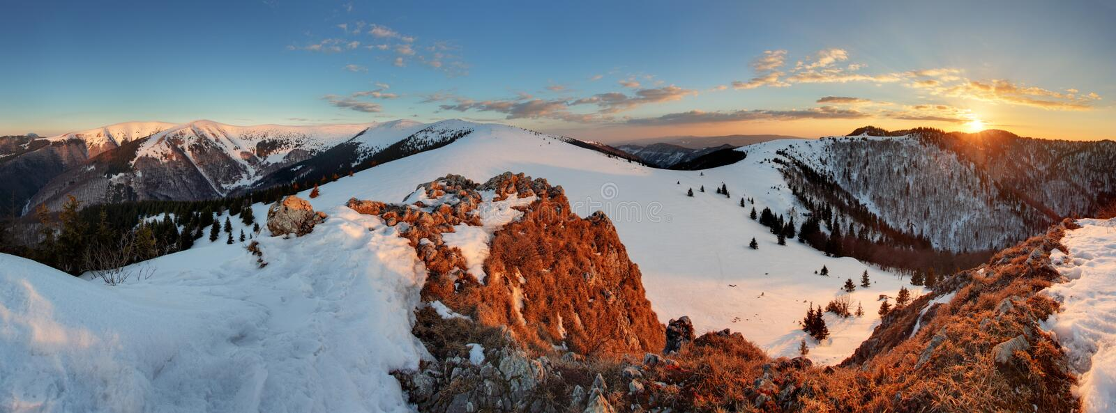 Panorama of winter mountain, Slovakia frozen landscape.  royalty free stock image