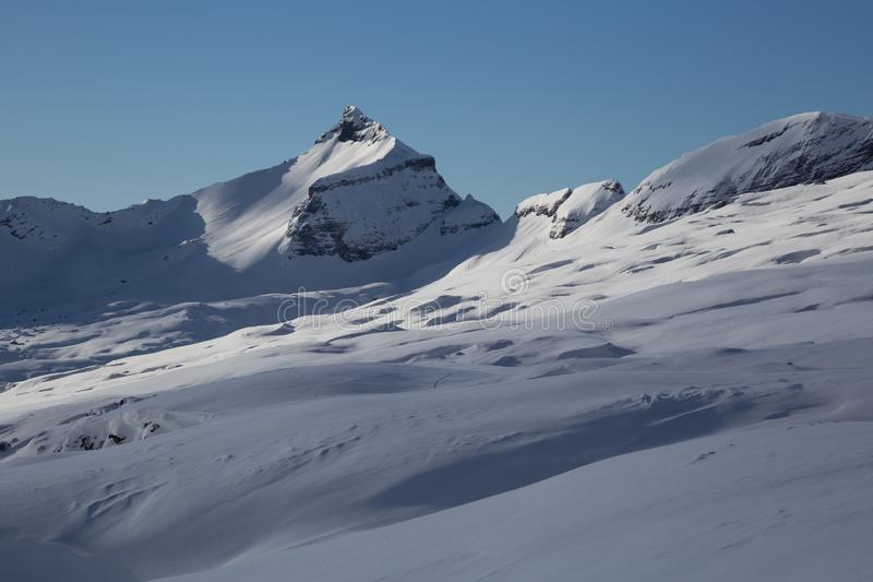 Panorama of winter snowy Alps. Panorama Alps in Flaine area, Grand Massif, France royalty free stock photos