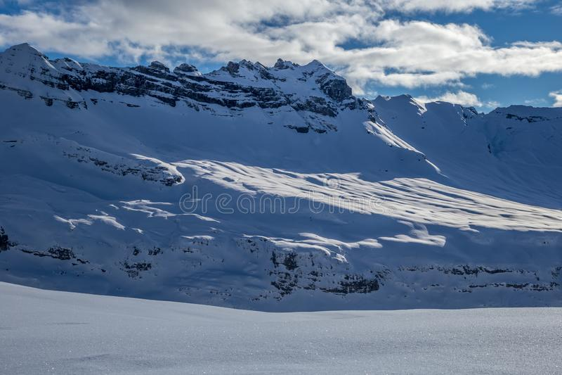 Panorama of winter snowy Alps. Panorama Alps in Flaine area, Grand Massif, France royalty free stock image