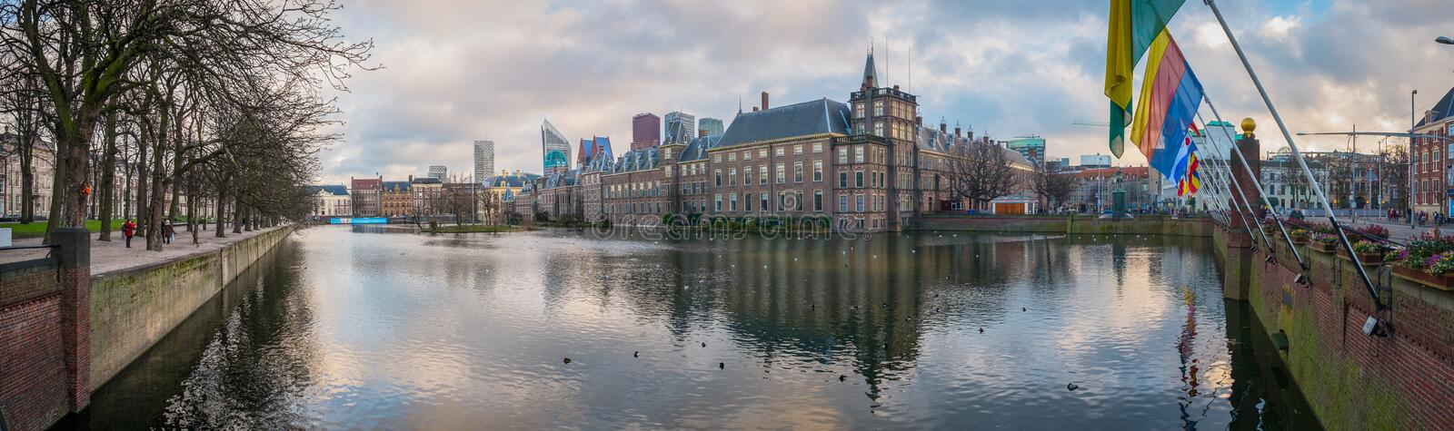 A panorama of a winter sunset in the Hague. royalty free stock photos