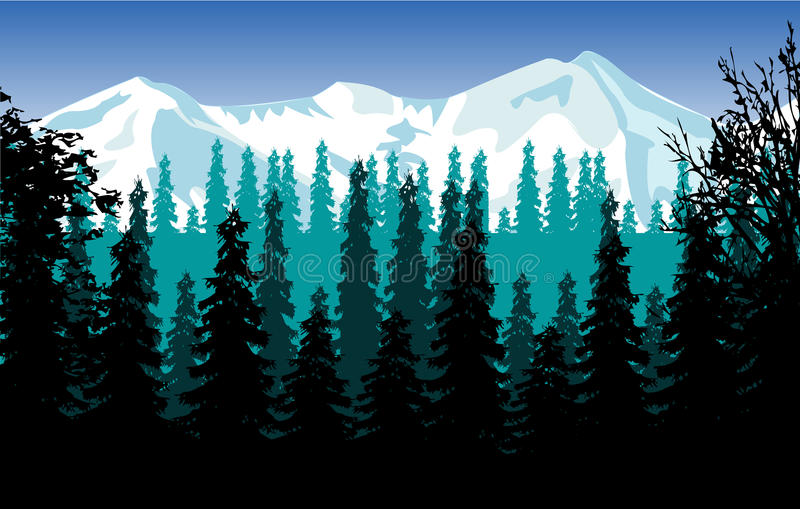 Panorama wood and mountains stock illustration