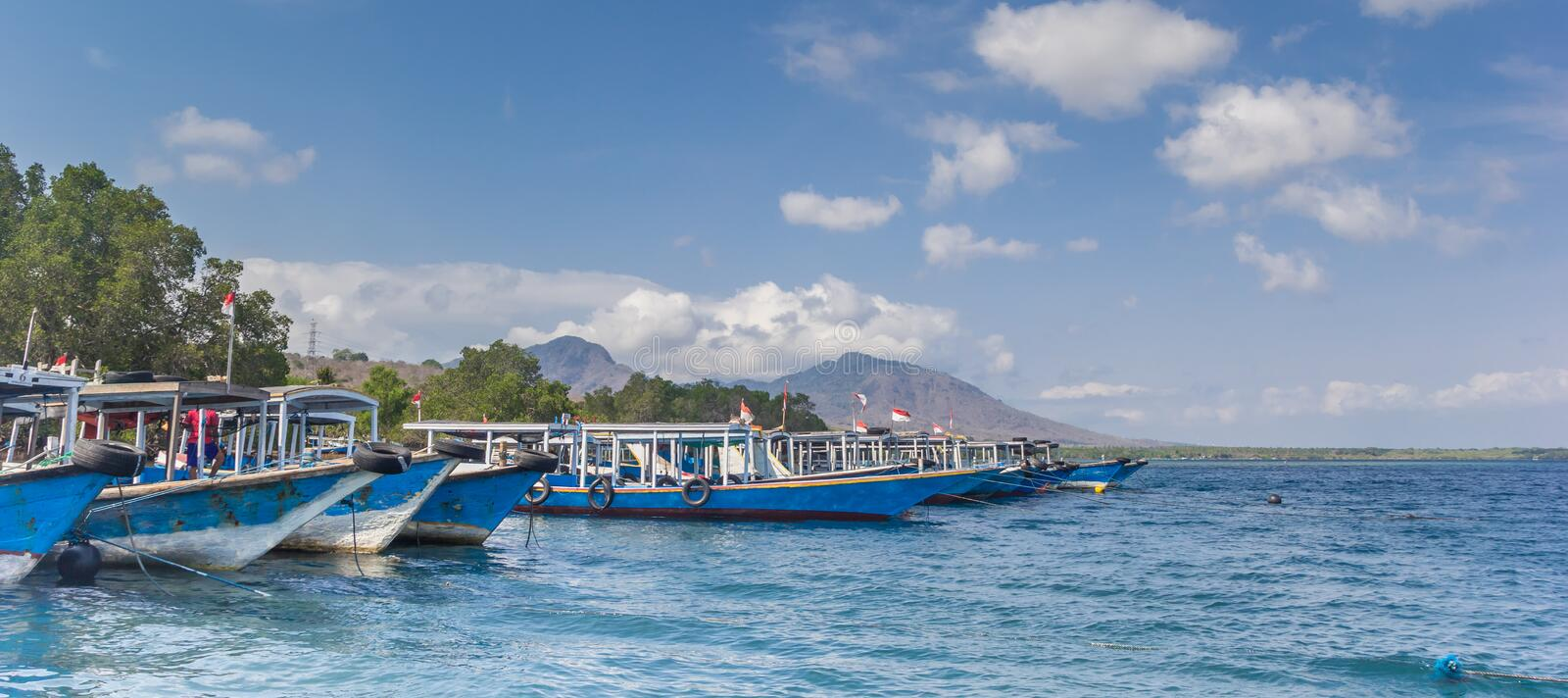 Panorama of wooden boats in the Bali Barat National Park. Indonesia stock images