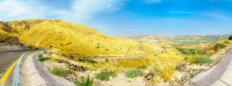 Panorama wzgórze golan i Yarmouk rzeki dolina, obrazy stock