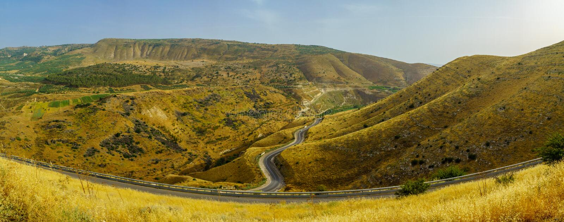 Panorama wzgórze golan i Yarmouk rzeki dolina, zdjęcia royalty free