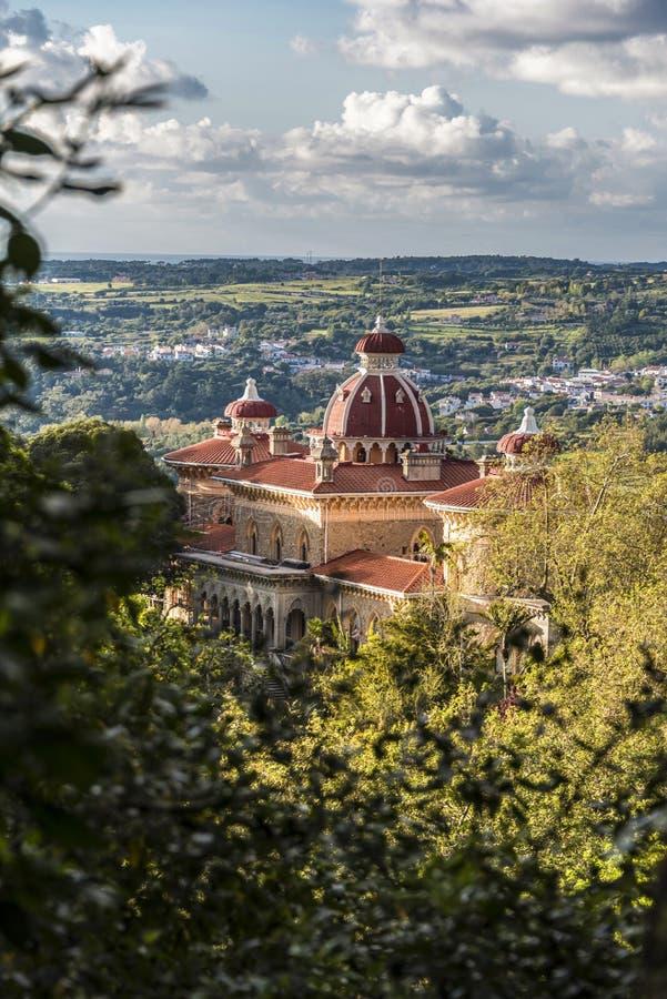 Panorama z Monserrate pałac w Sintra regionie fotografia stock