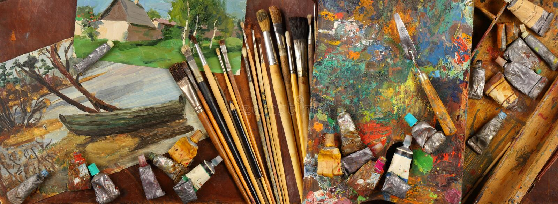 Panorama z nakreśleniami i narzędziami pracujący artysta zdjęcia royalty free
