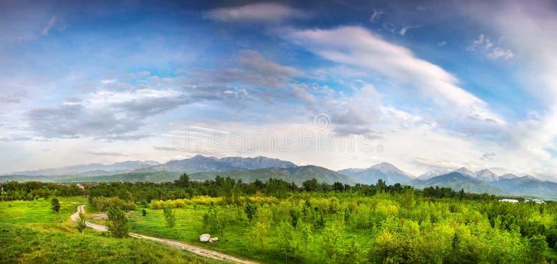 Panorama of Zaili Alatau mountains in Alamty stock photo
